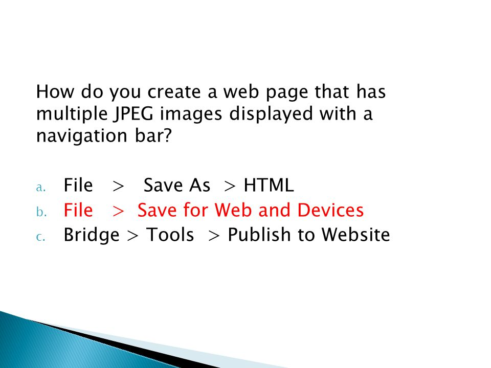 How do you create a web page that has multiple JPEG images displayed with a navigation bar