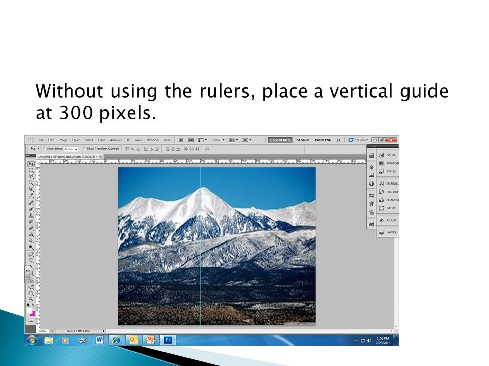 Without using the rulers, place a vertical guide at 300 pixels.