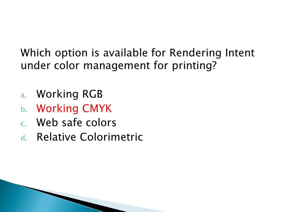 Which option is available for Rendering Intent under color management for printing