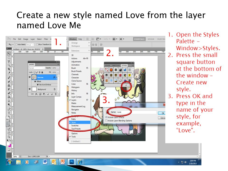 1. 2. 3. Create a new style named Love from the layer named Love Me