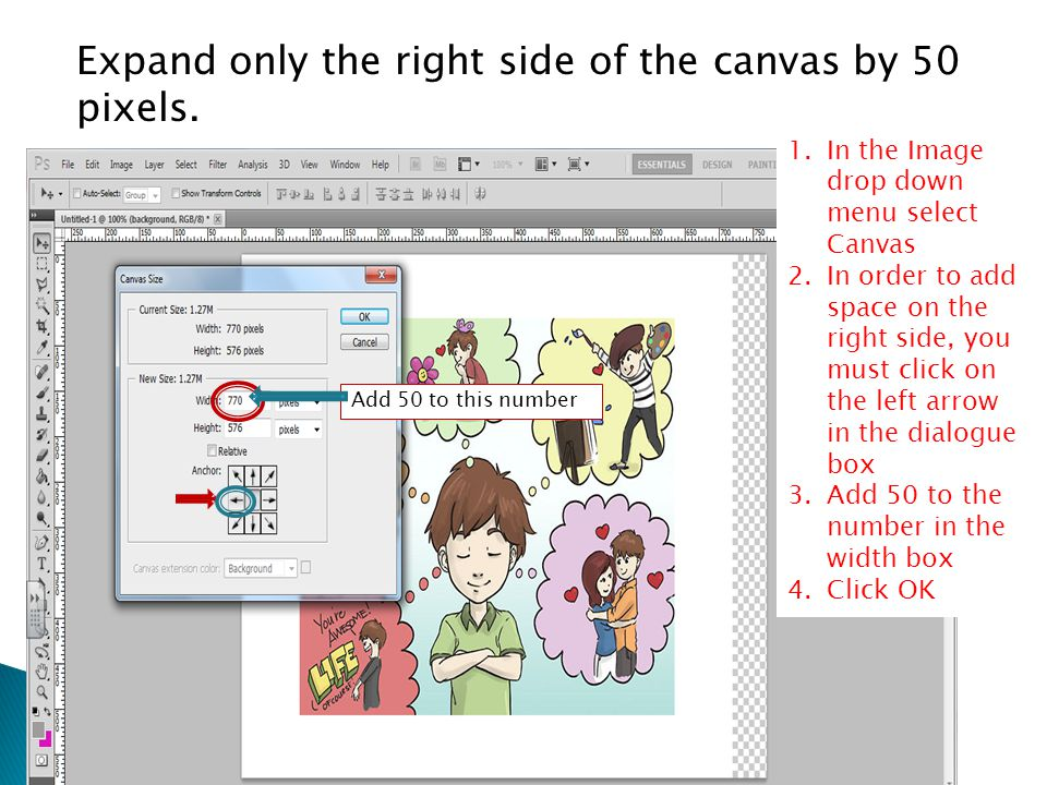 Expand only the right side of the canvas by 50 pixels.