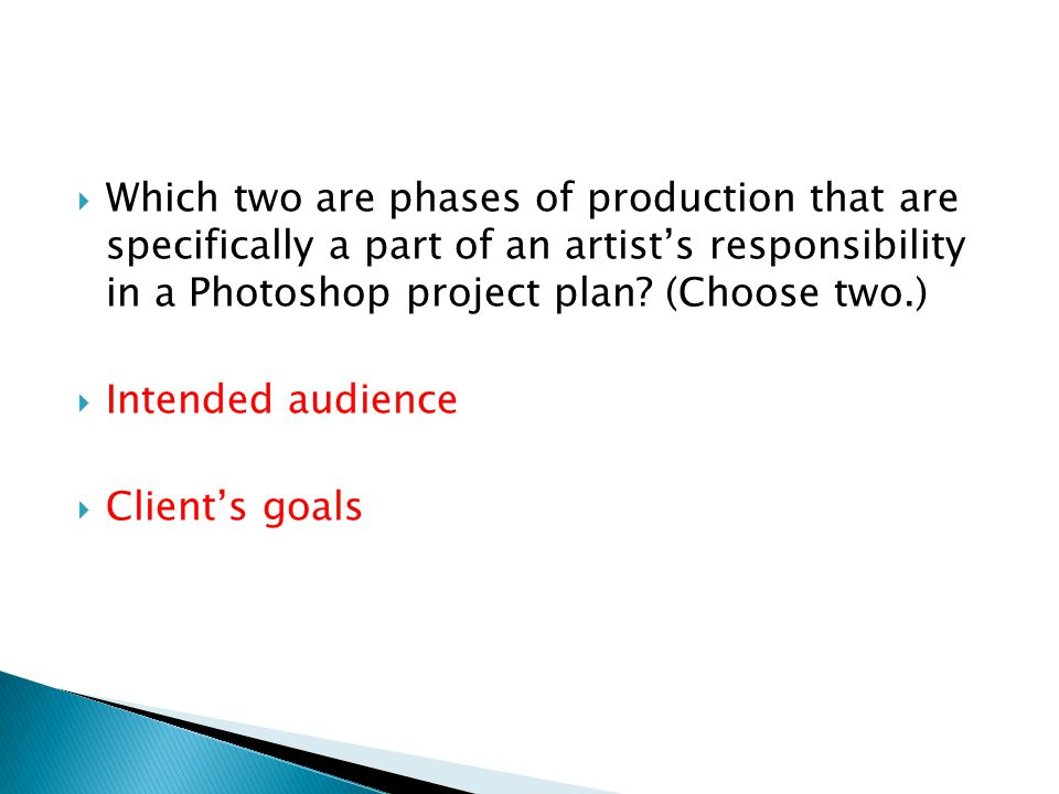 Which two are phases of production that are specifically a part of an artist's responsibility in a Photoshop project plan (Choose two.)