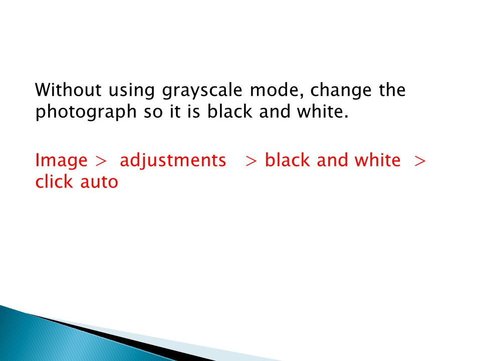 Without using grayscale mode, change the photograph so it is black and white.