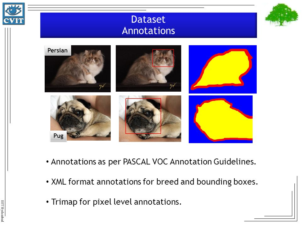 Dataset Annotations Persian. Pug. Annotations as per PASCAL VOC Annotation Guidelines. XML format annotations for breed and bounding boxes.