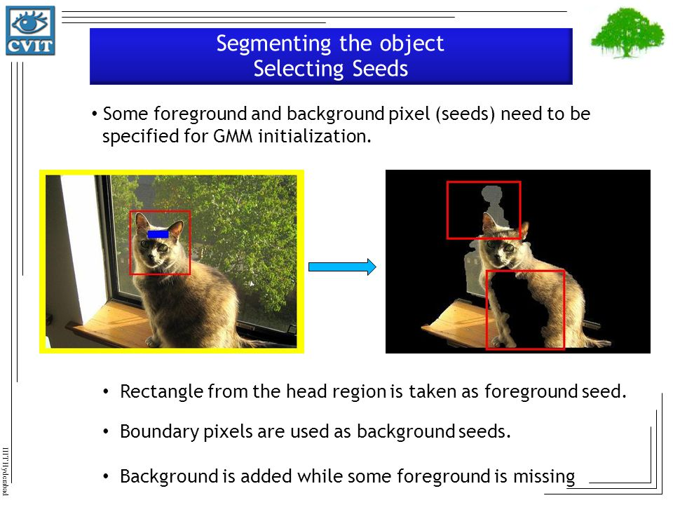 Segmenting the object Selecting Seeds