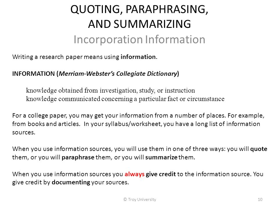 Quoting and paraphrasing unexpected
