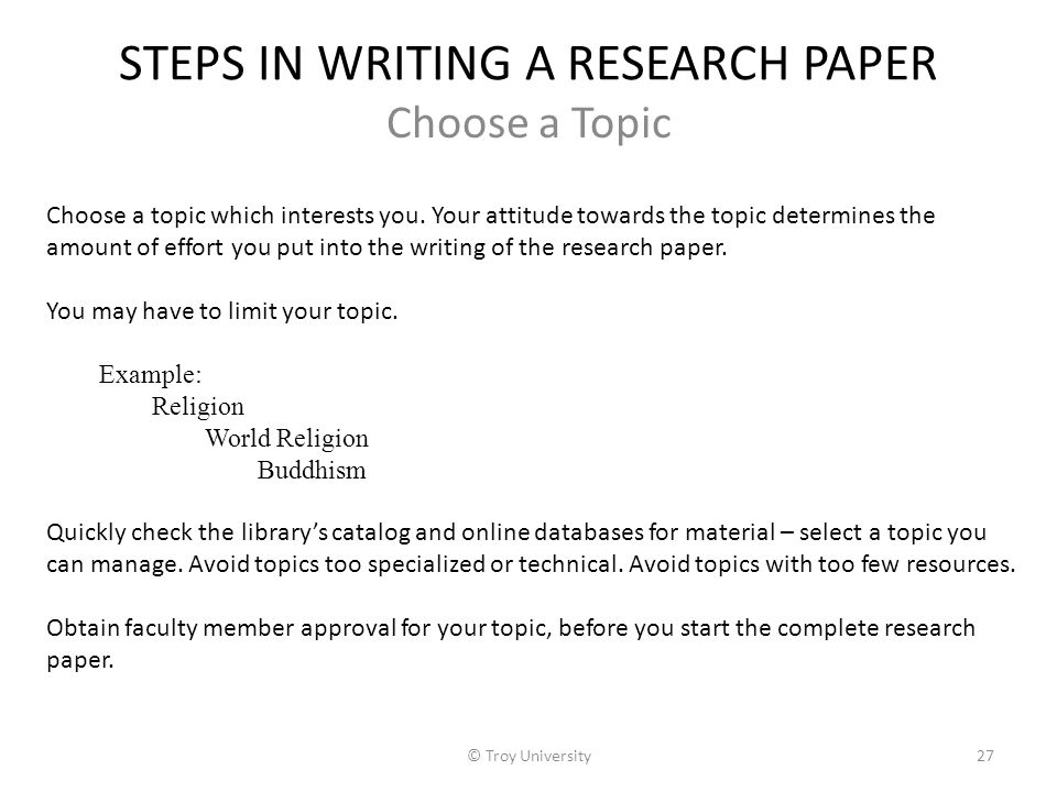 steps to write research paper