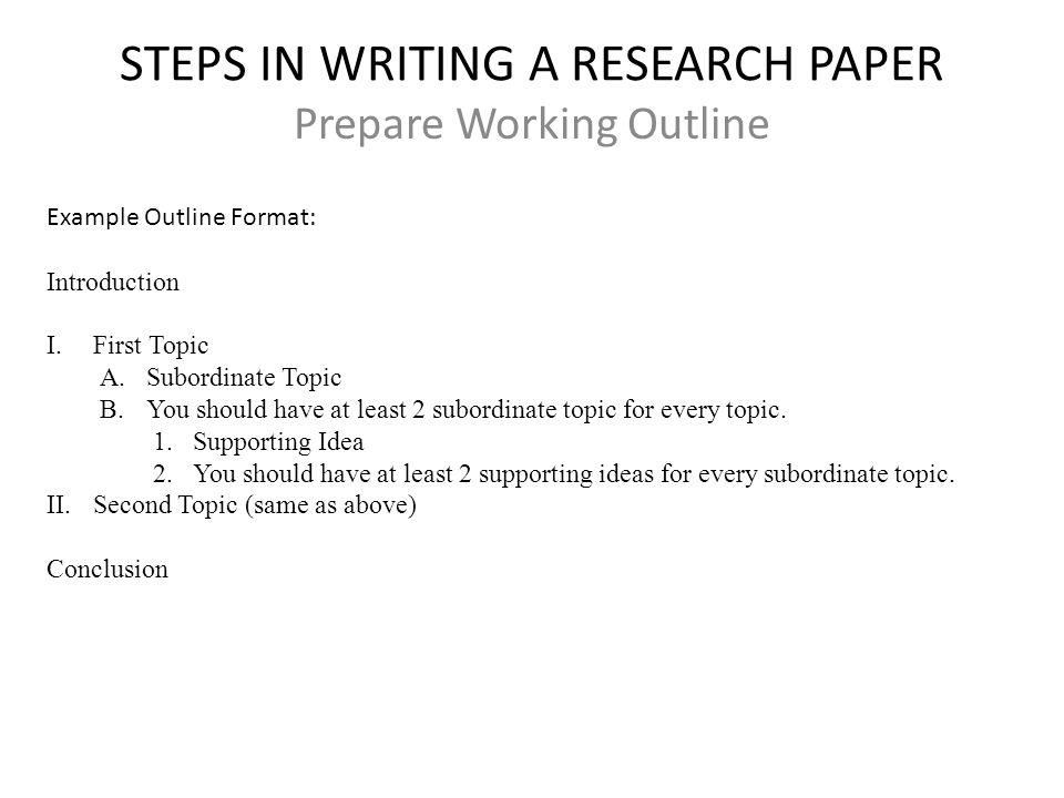 steps on how to write a research paper The main 12 steps to write a research paper are: 1find the goal of the research paper 2 chose a specific topic 3write working thesis statement.
