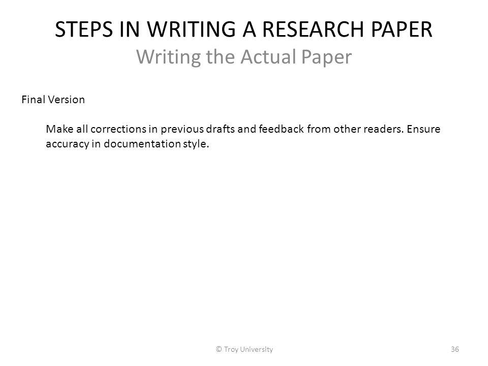 6 steps of writing a research paper For more information about writing research papers 6 steps to effective paraphrasing reread the original passage until you understand its full meaning set the.
