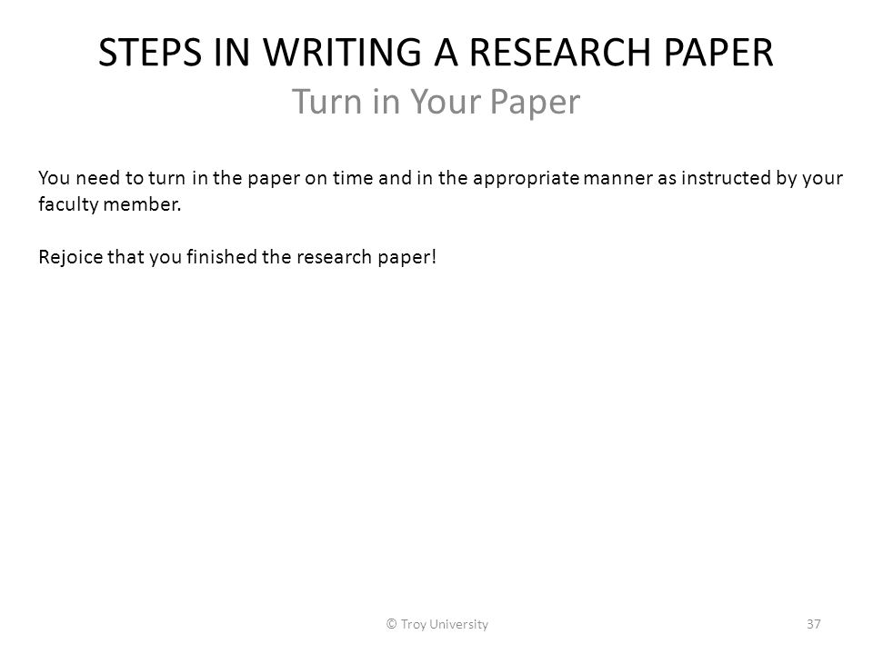 Step in writing a research paper