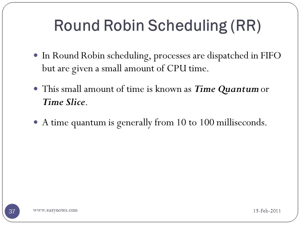 round robin scheduling thesis This thesis focuses on the task of scheduling the games of the nhl regular  season  thesis 211 round-robin tournaments a competition where the  teams.