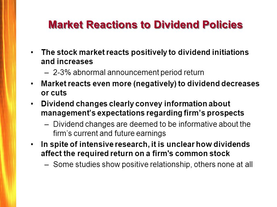 effect of dividend policies Özet this investigates the effect of dividend policy on stock prices objective of the study is to see if there exists any relationship between dividend policy and stock prices.