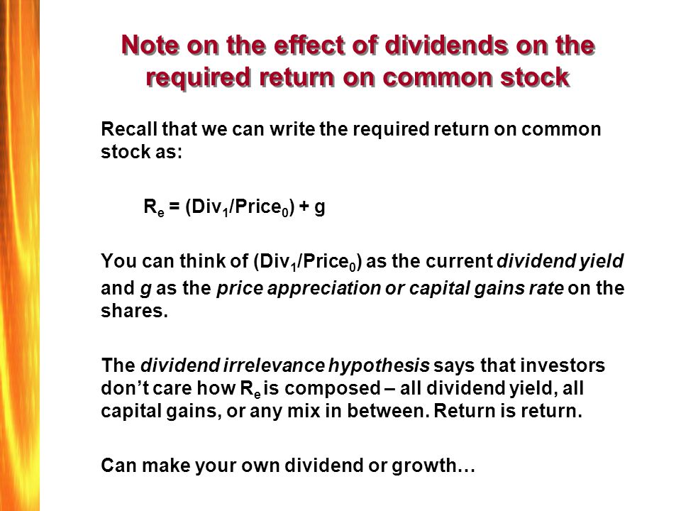 dividend payment impact on common stock prices Effects of dividends on common stock prices: of dividend payments on share price has been the impact of fundamental factors on stock price of.