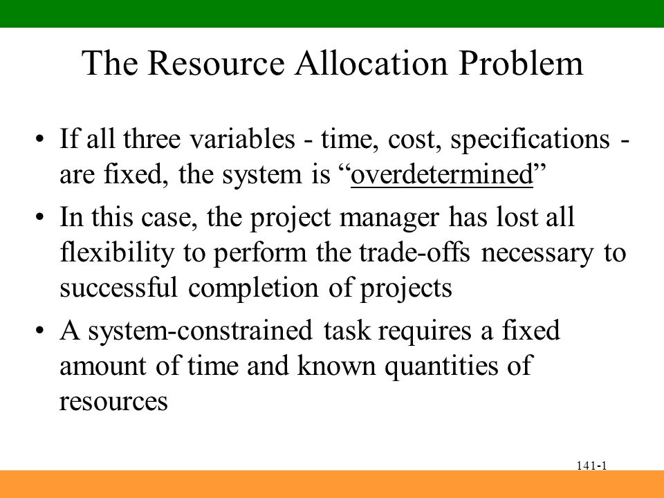 Goal: Resolve resource allocation problems