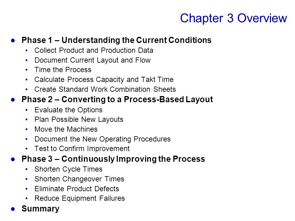 Lean manufacturing cellular manufacturing one piece flow for chapter 3 overview phase 1 understanding the current conditions sciox Choice Image