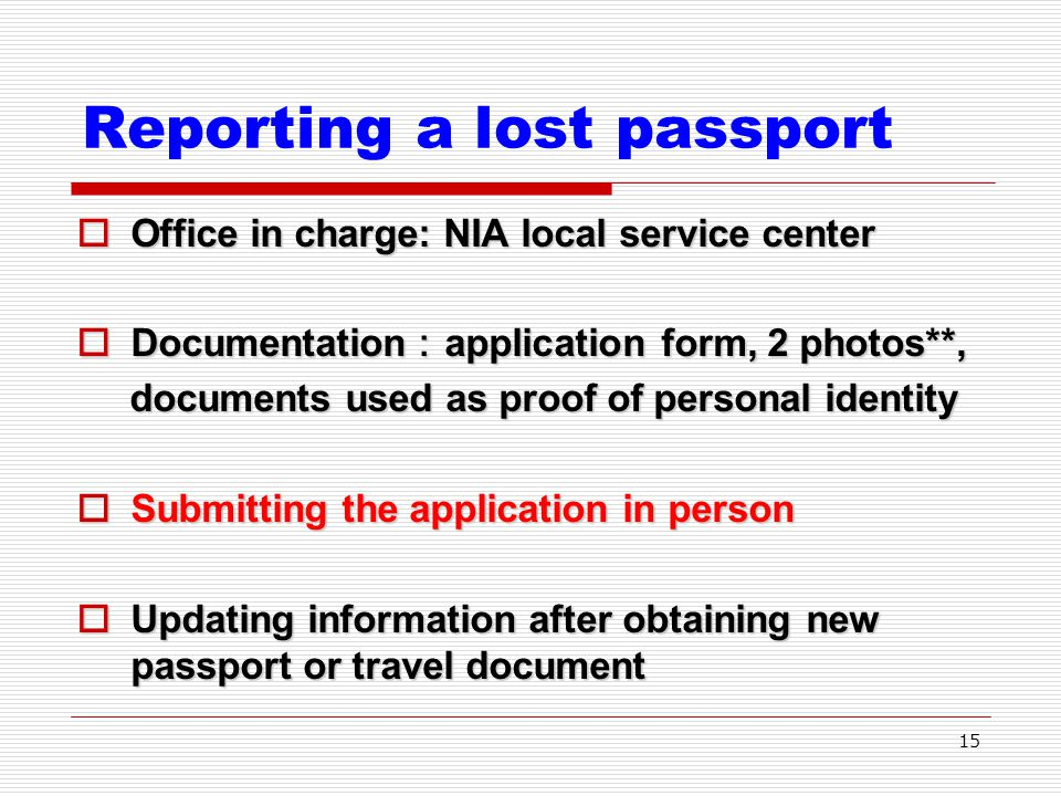 Lost Passport Form