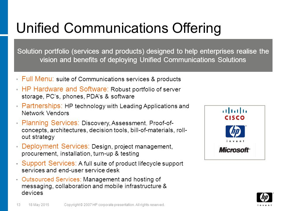 HP amp Cisco Unified Communications Collaboration