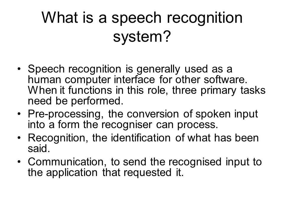 Speech Recognition  Ppt Download