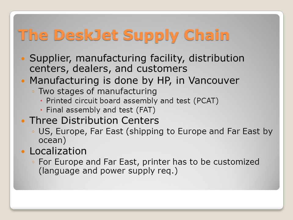 hewlett packard company deskjet printer supply chain a solution and recommendation The case can be used to discuss inventory analysis and/or to discuss the  organizational challenges which companies face in implementing supply chain.
