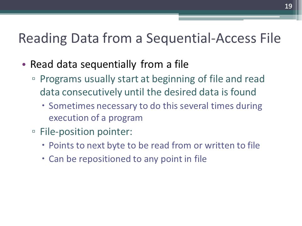 Reading Data from a Sequential-Access File