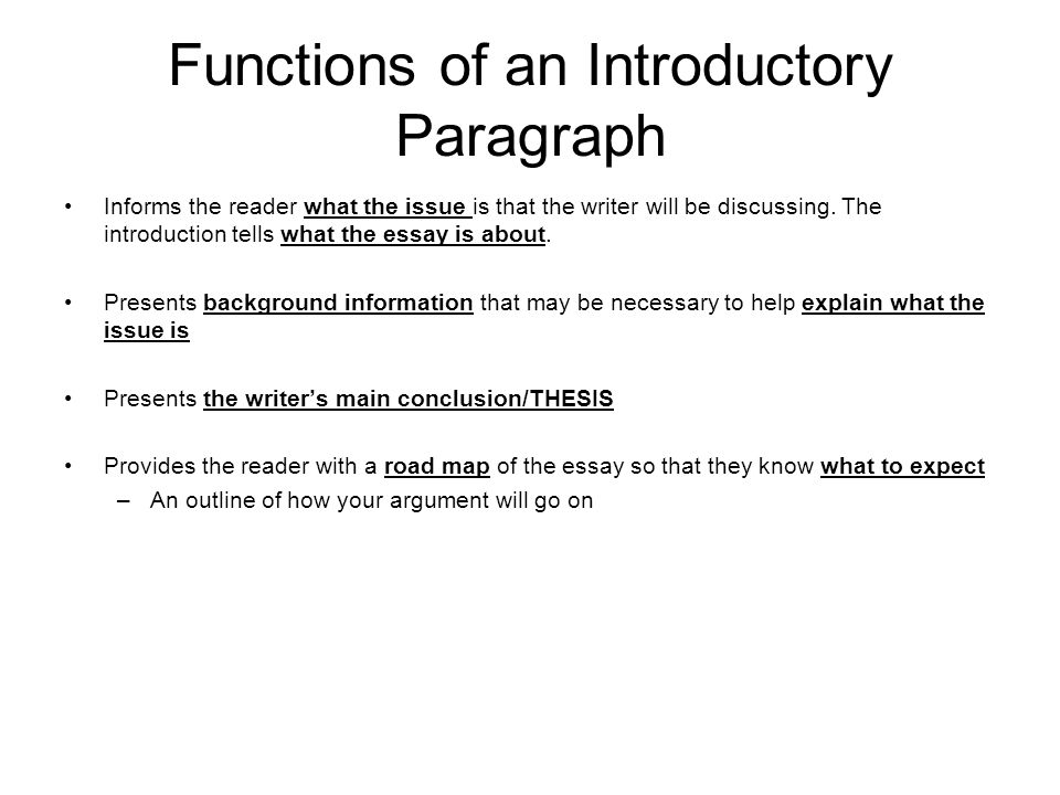 function of the introductory paragraph Purpose of research paper introduction: the introduction leads the reader from  a  questions answered in the research paper introduction: think of the.