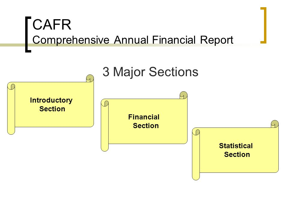 comprehensive annual financial report Each year, the city of albuquerque produces an comprehensive annual  financial reports (cafr) the information contained in each online report  comprises.