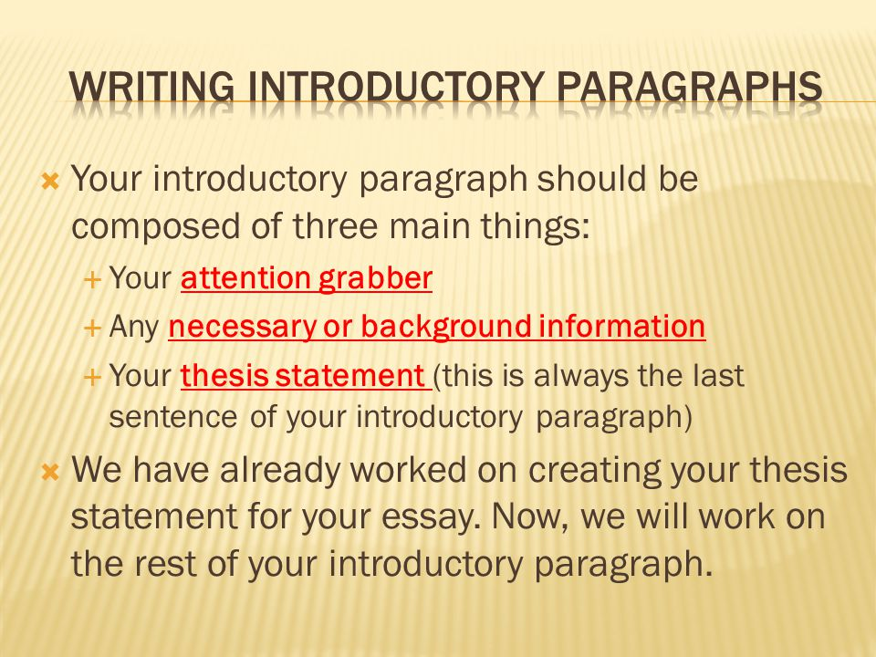 Introductory Paragraph With Thesis Statement Introductory Paragraph With Thesis Statement  The Fiveparagraph Essay