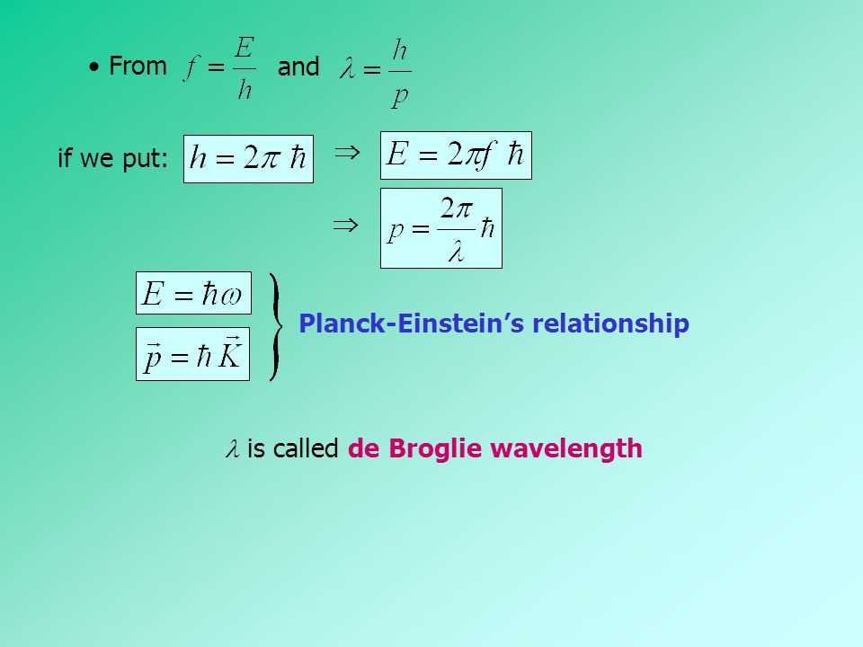  From and  if we put:  Planck-Einstein's relationship  is called de Broglie wavelength