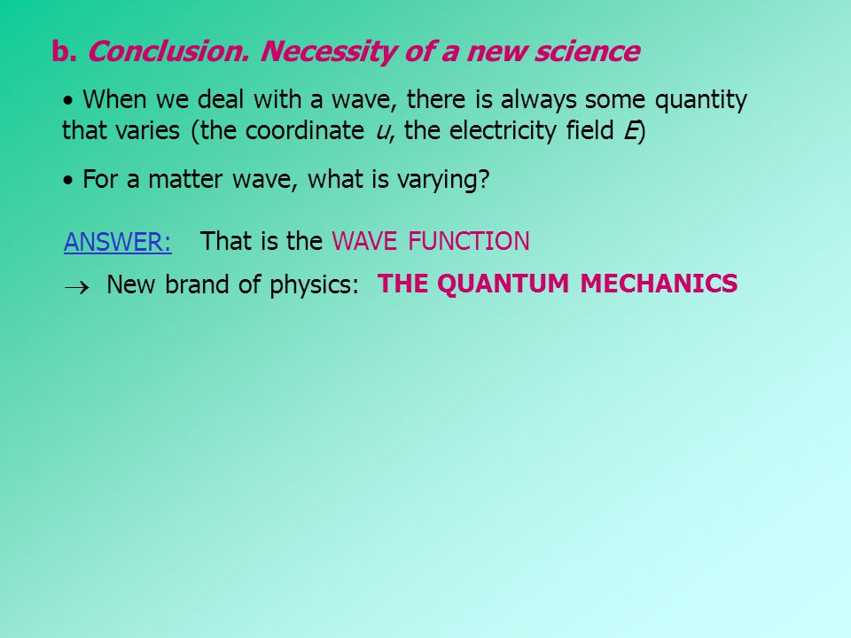 b. Conclusion. Necessity of a new science