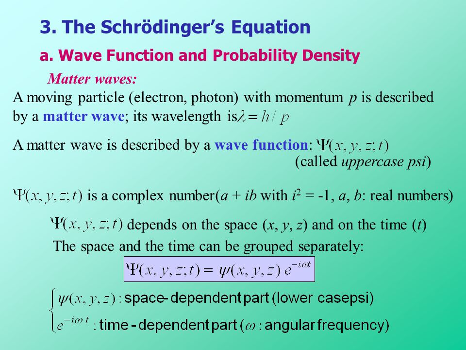 3. The Schrödinger's Equation
