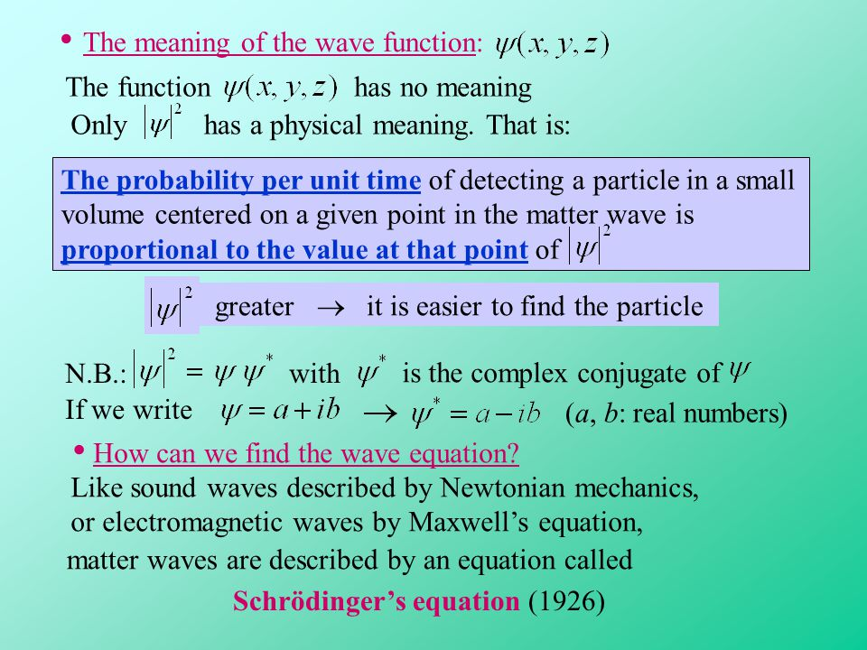 • The meaning of the wave function: