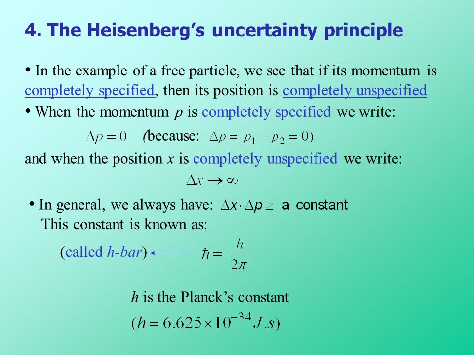4. The Heisenberg's uncertainty principle