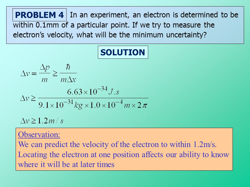 We can predict the velocity of the electron to within 1.2m/s.