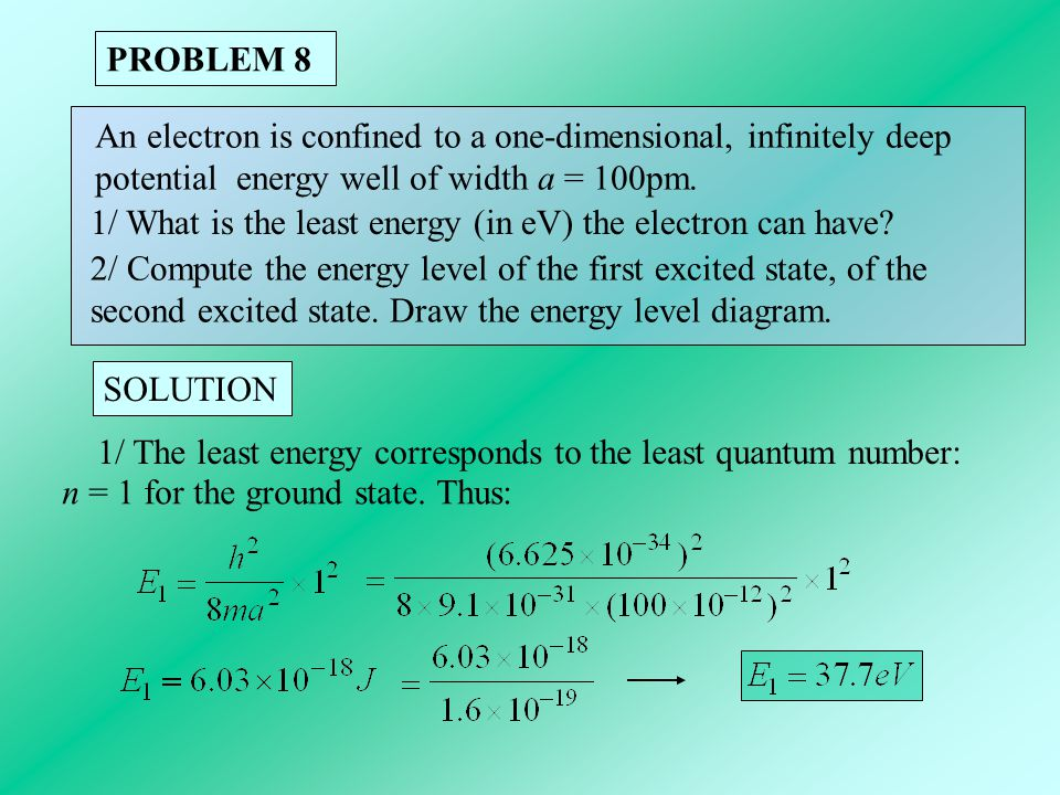 PROBLEM 8 An electron is confined to a one-dimensional, infinitely deep. potential energy well of width a = 100pm.