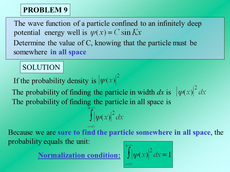 PROBLEM 9 The wave function of a particle confined to an infinitely deep. potential energy well is.