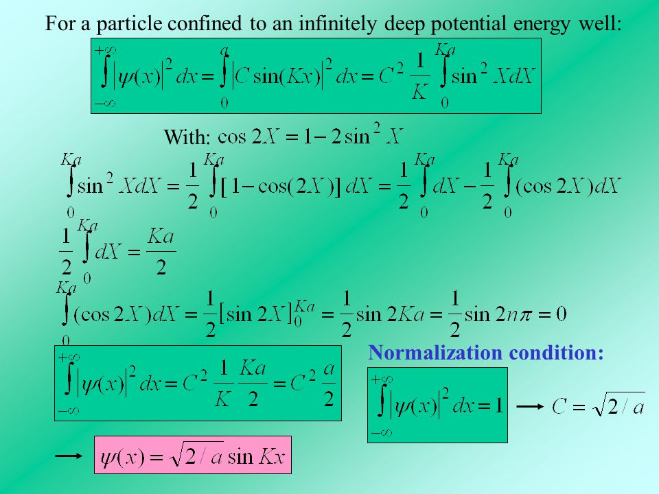 For a particle confined to an infinitely deep potential energy well:
