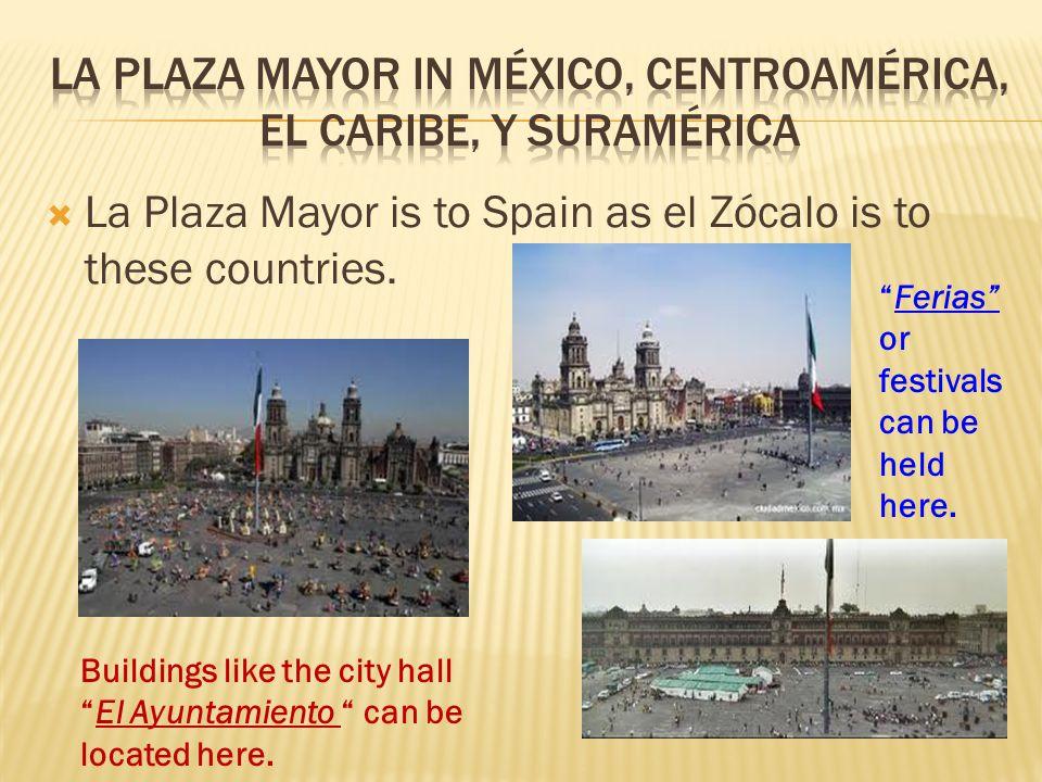 La Plaza Mayor in México, Centroamérica, el Caribe, y suramérica