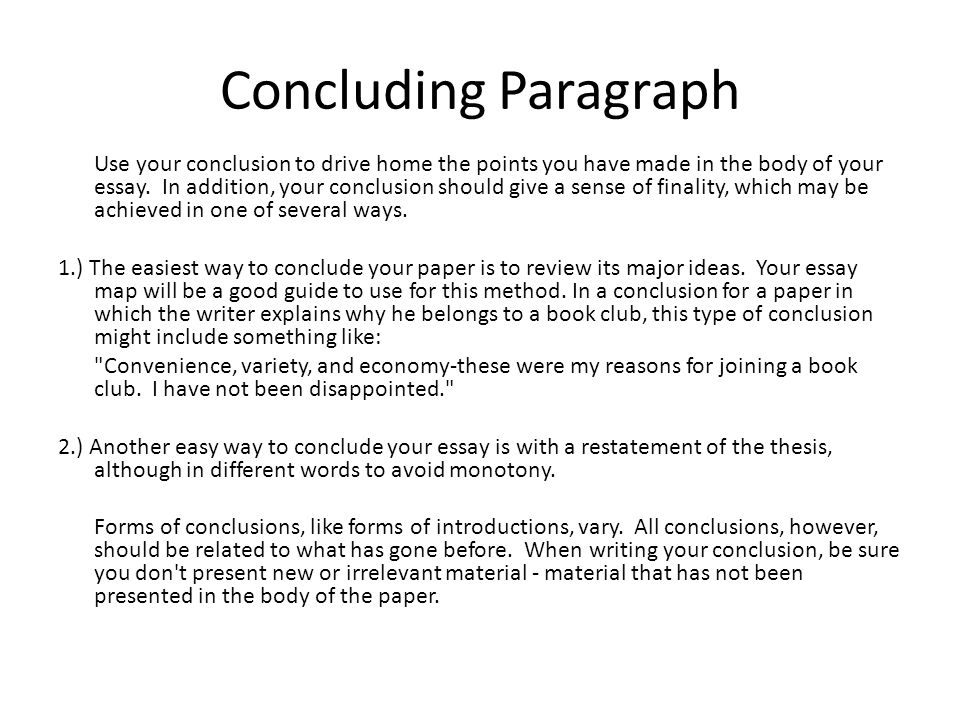 How to do conclusion essay