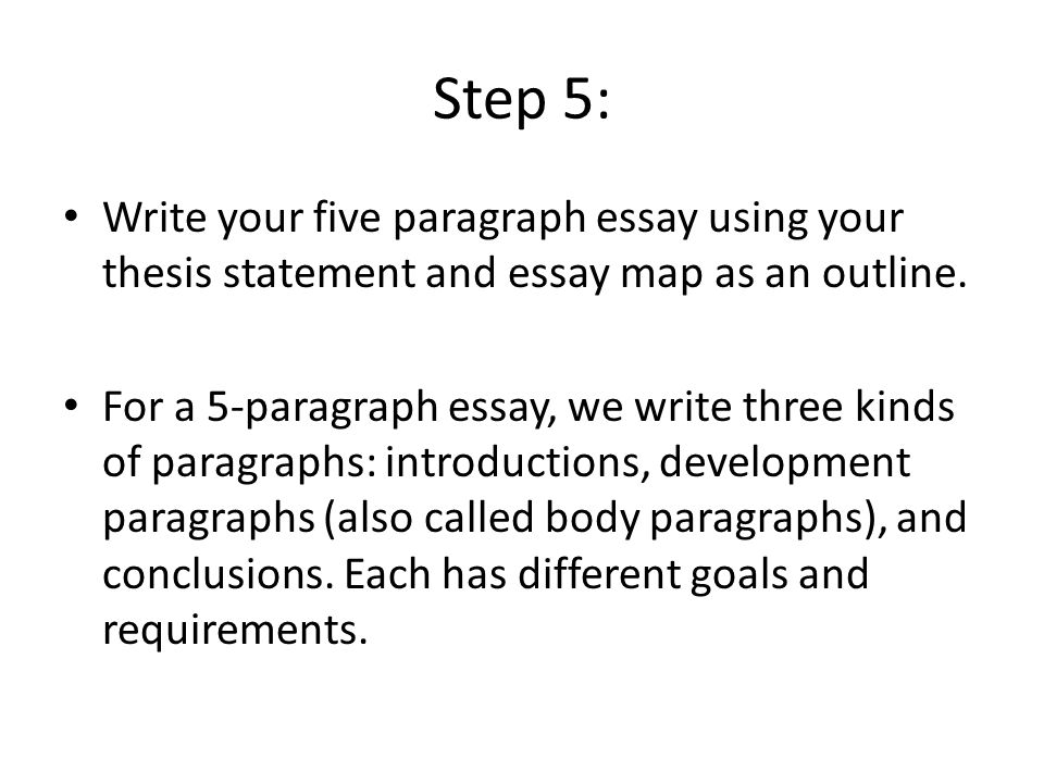steps to writing a 5 paragraph essay What's the secret to writing a good five paragraph essay well, the tips contained here, and this sample outline can't hurt learn how to choose a good idea for your essay and organize it properly.