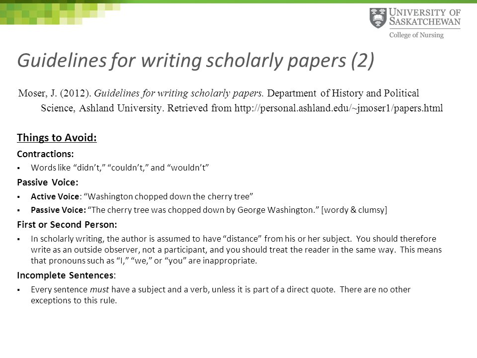 Guidelines for writing research paper