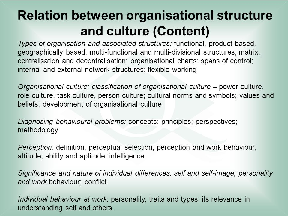 relationship between structure culture and business Definition of 'organizational structure' explicit and implicit institutional rules and policies designed to provide a structure where various work roles and responsibilities are delegated, controlled and coordinated - relationship between structure, culture and business performance introduction.