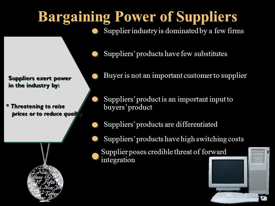 bargaining power of supplier 40 bargaining power of suppliers 41 degree of supplier concentration the australia lcd screen tv business is currently dominated by a lot of electronic manufacturers.