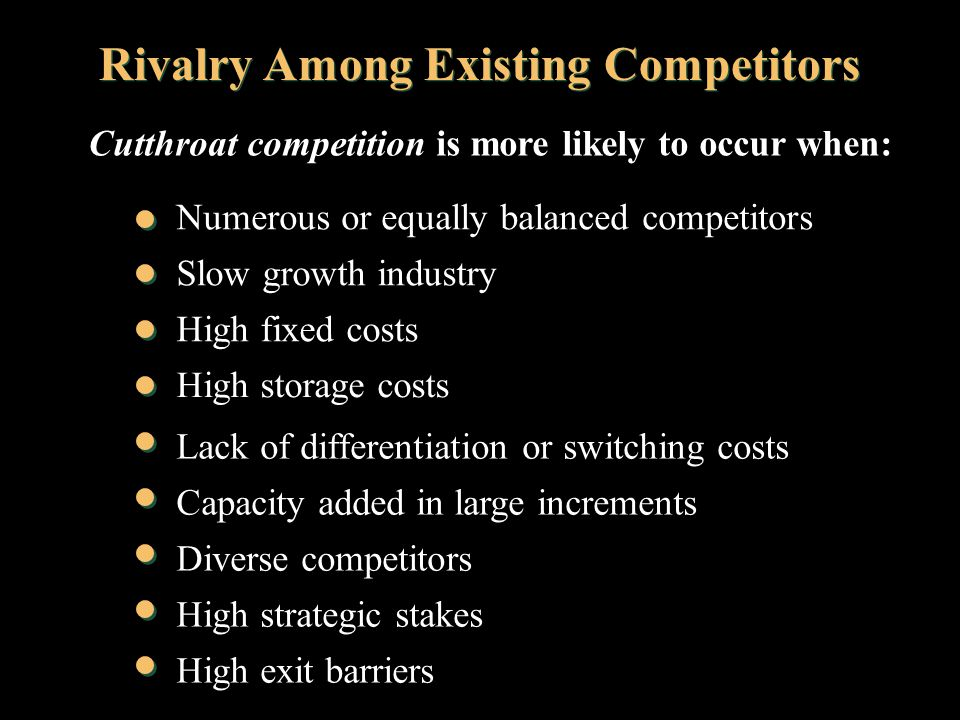 rivalry among existing competitors essay The rivalry among competing sellers economics essay rivalry among competitors is very high in case of tourism existing firms may have cost and resources.