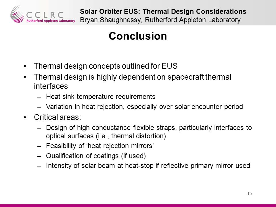 Conclusion Thermal design concepts outlined for EUS