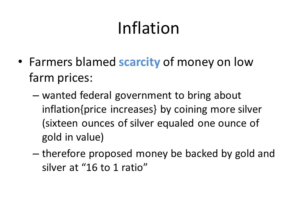 Inflation Farmers blamed scarcity of money on low farm prices: