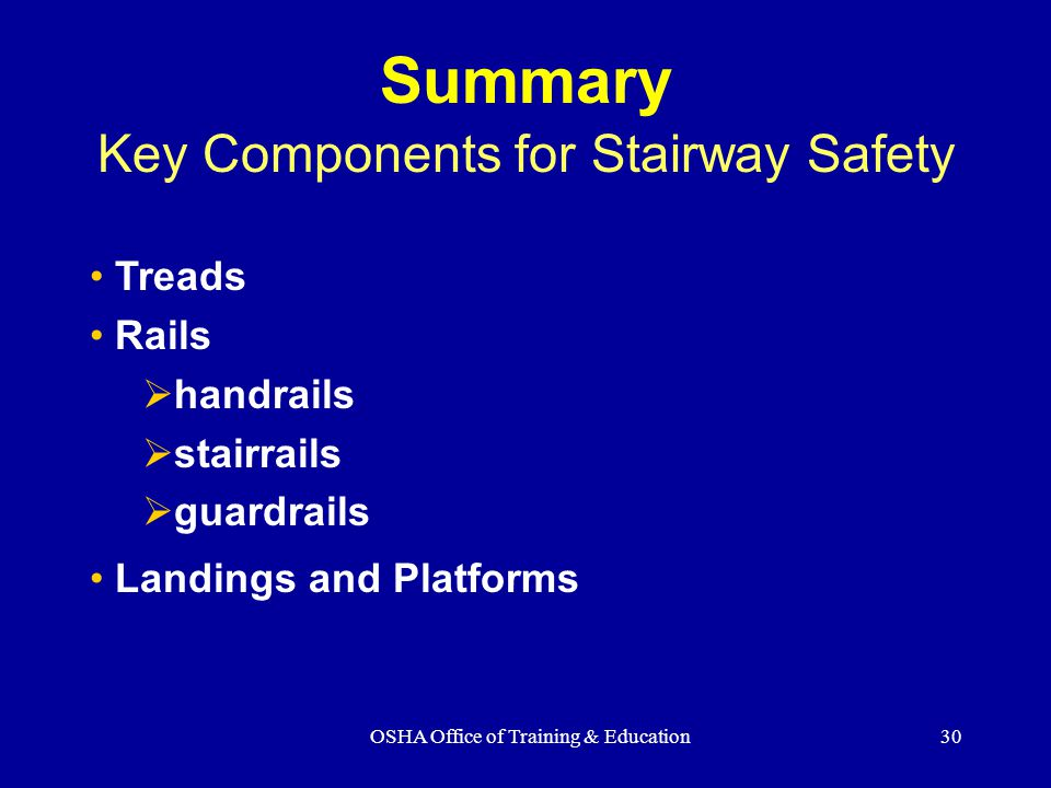 Summary Key Components for Stairway Safety Treads Rails handrails