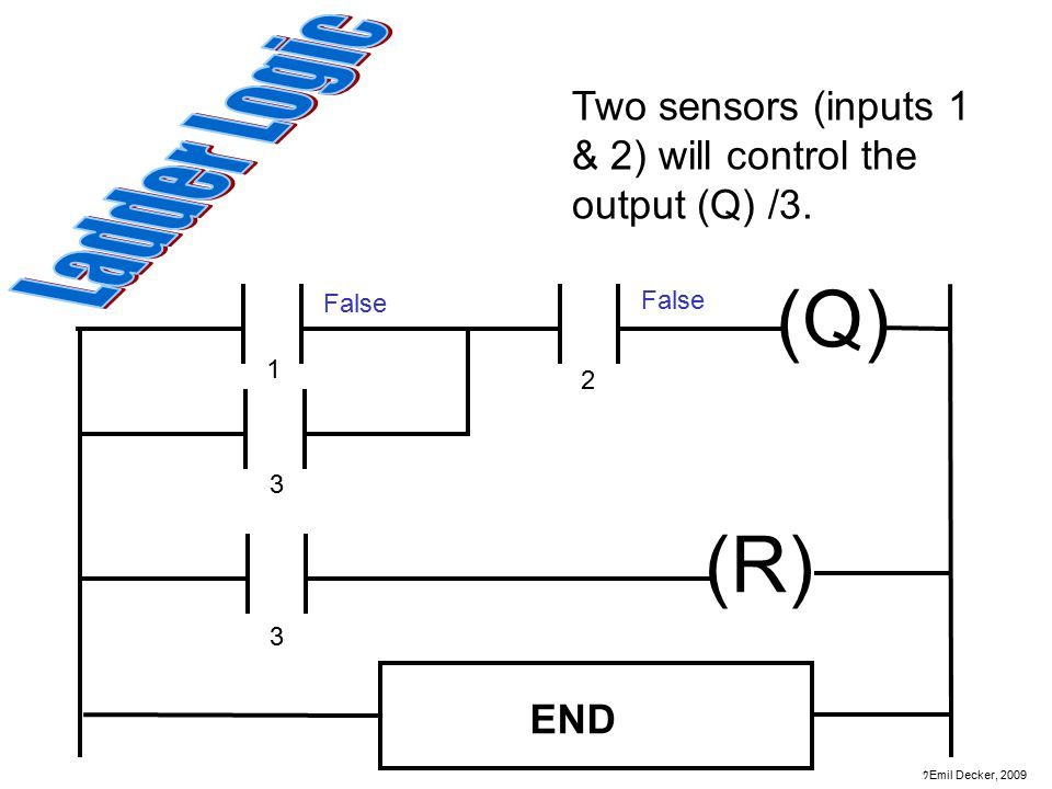 Two sensors (inputs 1 & 2) will control the output (Q) /3.