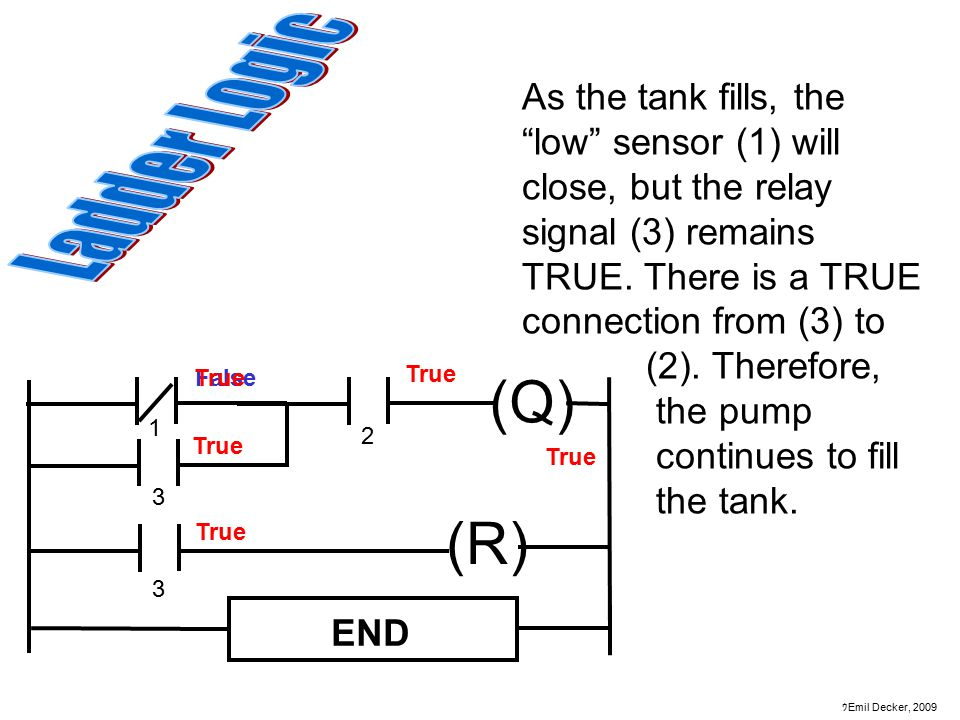 As the tank fills, the low sensor (1) will close, but the relay signal (3) remains TRUE. There is a TRUE connection from (3) to