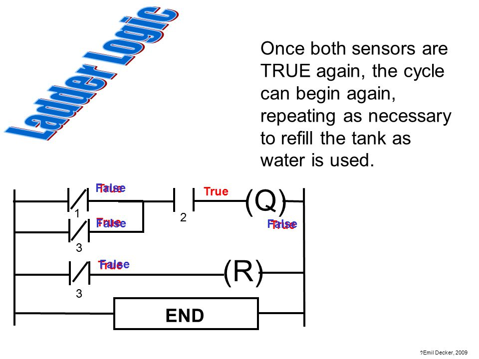 Once both sensors are TRUE again, the cycle can begin again, repeating as necessary to refill the tank as water is used.