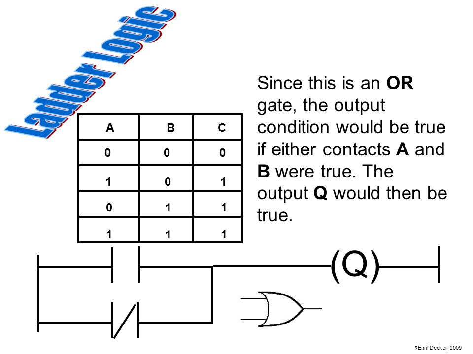 Ladder Logic Since this is an OR gate, the output condition would be true if either contacts A and B were true. The output Q would then be true.